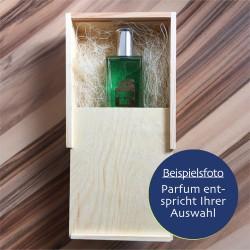 Geschenkbox aus Holz mit Parfum